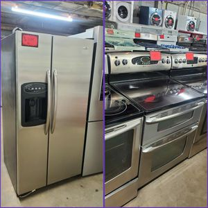 Maytag 2pc : 33in Side By Side Door Fridge & Double Oven Electric Stove Stainless Steel Working Perfectly Four Months Warranty for Sale in Baltimore, MD