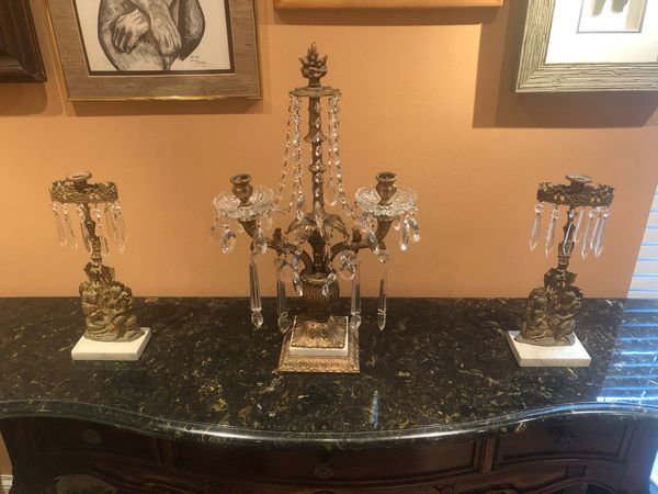 3 PIECE ANTIQUE BRONZE WITH MARBLE AND CRYSTAL NEOCLASSICAL CANDELABRA SET