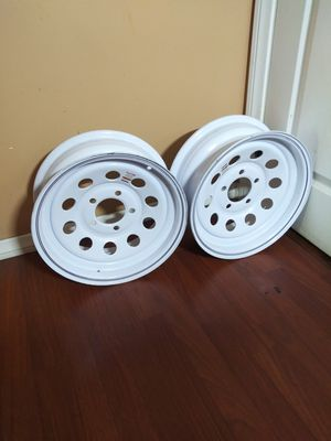 "NEW WHEELS SET RIMS FOR TRAILER SIZE 14"" X 5.5 LUG BOLT IF SOMEBODY INTERESTED PLEASE TEXT ME SE HABLA ESPANOL for Sale in Los Angeles, CA"
