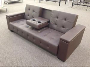 Brand New Espresso Faux Leather Futon Sofa Bed for Sale in Silver Spring, MD