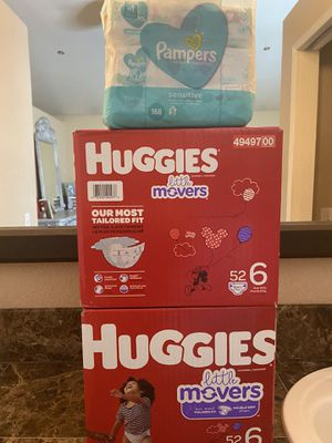 Huggies size 6 little movers diapers and wipes bundle for Sale in Fontana, CA