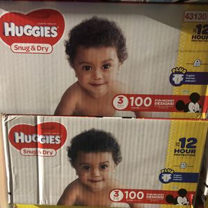 Huggies snug and dry size 3- 2 100 ct boxes for Sale in White Oak, PA
