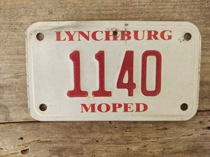Lynchburg, Va MoPed License Plate for Sale in Fort Defiance, VA