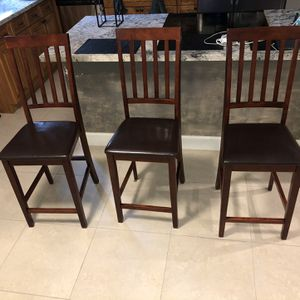 3 Mahogany Brown Leather Stools for Sale in Miami, FL