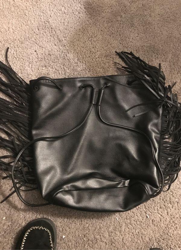 Victoria's Secret Fringed Leather One Size Black Backpack