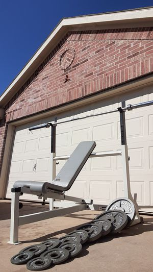 Key fitness bench press with weights and bar heavy duty with different positions. for Sale in Saginaw, TX