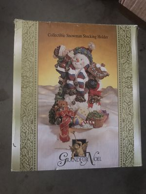 Grandeur Noel Collectible Snowman Stocking Holder W/Toys Let It Snow Sign for Sale in Murrieta, CA