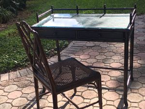 Bamboo Desk with Glass Top and Bamboo Chair for Sale in Miami, FL