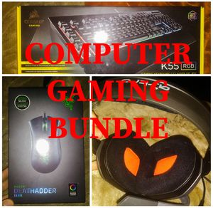 Computer Gaming Keyboard Microphone Headphones Mouse Bundle for Sale in Las Vegas, NV