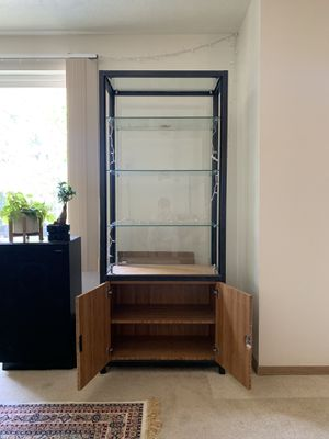 Glass Display Cabinet with 3 Floating Glass Shelves for Sale in Spokane, WA