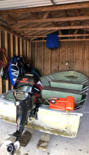 12 foot boat and 15 HP Mercury FourStroke for Sale in Mountain, WI