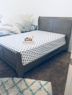 Brand New Queen Size Grey Wood Sleigh Bed Frame ONLY for Sale in Wheaton-Glenmont, MD