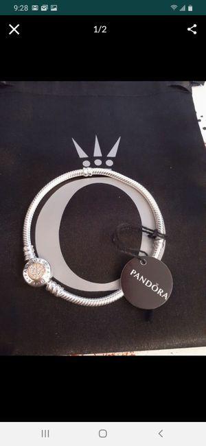 New silver/14k gold pandora signature clasp charm bracelet for Sale in Philadelphia, PA
