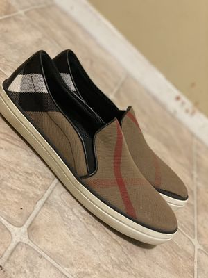 Burberry Multicolor Canvas And Leather Gauden Slip On Sneakers Size 41 for Sale in Staten Island, NY