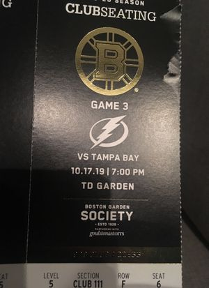 Boston bruins clubseating vs Tampa Bay for Sale in New Haven, CT