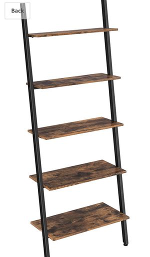 Alinru Ladder Shelf Leaning Shelf, 5-Tier Bookshelf Rack, for Living Room Kitchen Office, Stable Steel, Industrial Furniture, Rustic Brown ULLS46BX for Sale in Temple City, CA