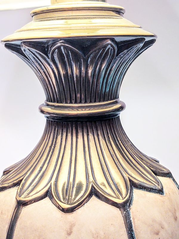Pair Of Vintage Ceramic And Brass Rembrandt Table Lamps