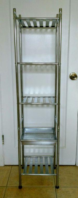 5-shelf bathroom kitchen storage chrome towerrack for Sale in San Mateo, CA