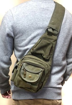 Brand NEW! Olive Green Canvas Crossbody/Shoulder/Side Bag/Sling/Messenger For Work/Traveling/Hiking/Sports/Gym/Biking/Fishing/Outdoors/Gifts $18 for Sale in Carson, CA