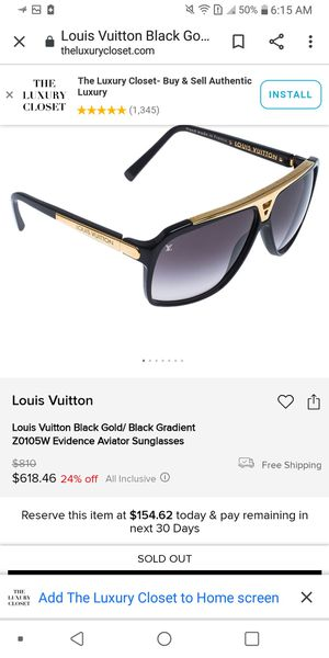 Louis vuitton black /gold gradient z0105w evidence Aviator (real) for Sale in Three Rivers, MI