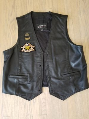 Black Leather Men's Motorcycle Riding Vest with Harley Patches for Sale in San Diego, CA