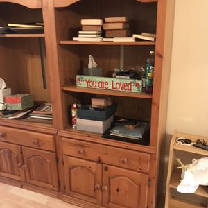 Bookcases / FREE / Cabinet / Shelves / 3 Real Wood Bookcases And 1 Armoire / Located In Fort Lauderdale/ Please Reply With When You Can Come Pick Up. for Sale in Pompano Beach, FL
