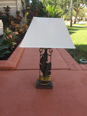 Iron table lamps with shades, Palm tree design, three way light adjustment. Price is per lamp. Floor lamp to match at a separate price of $29.00. for Sale in Pembroke Pines, FL
