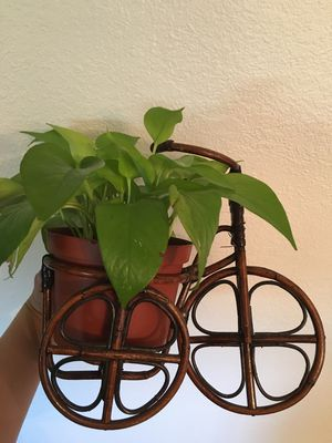 Boho bamboo rattan wicker vintage plant stand for Sale in Long Beach, CA