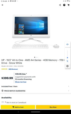 """HP - 19.5"""" All-In-One - AMD A4-Series - 4GB Memory - 1TB Hard Drive - Snow White for Sale in Phoenix, AZ"""