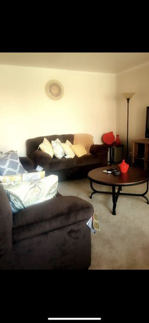 Ashley Living room set : Sofa , love seat , 2 side tables , 1 coffee table 2 lamp shades for Sale in Irvine, CA