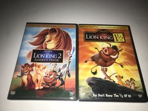 The Lion King 2& 1&1/2 DVDs for Sale in Riverside, CA