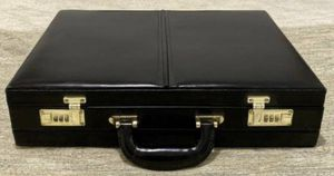 Vintage Never Used Black Top Grain Quality Leather Front Change Combination Lock Executive Briefcase - Mint Condition for Sale in Chapel Hill, NC