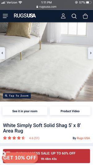 5x8 faux sheepskin rug white excellent condition for Sale in Agoura Hills, CA