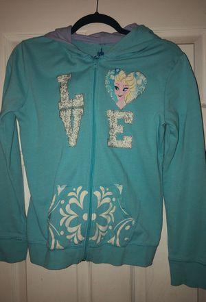 Disney Girls Elsa Light Blue ZIP-Up Sweatshirt Size XL/14 for Sale in Orange, CA