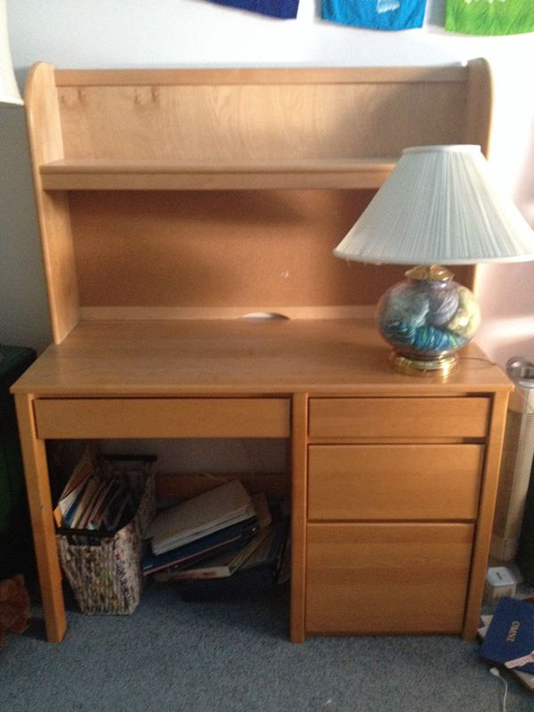 Hardwood Maple Desk with Built In Shelving