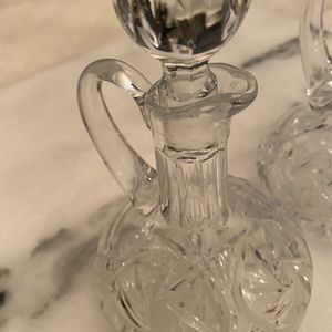 Heavy Vintage Crystal Cruet Set With Stoppers Oil And Vinagar for Sale in Los Angeles, CA