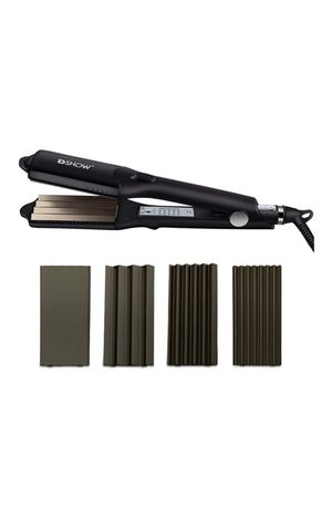 (W163) DSHOW 4 in 1 Hair Crimper Hair Waver Hair Straightener Curling iron with 4 Interchangeable Ceramic Flat Crimping Iron Plate, Black for Sale in Hacienda Heights, CA