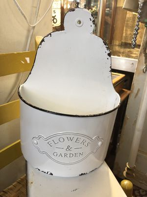 10x15 white wash shabby enamel hanging flower pot 25.00. Please text to be sure it's still available 😀Johanna furniture sterling silver jewelry colle for Sale in Creedmoor, TX