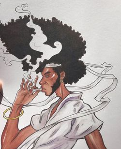 """afro samurai"" watercolor print for Sale in Riverside,  CA"