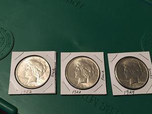 Lot of 3 Peace Dollars 1922, 1923 & 1924. 90% Silver. Higher Grade for Sale in Abilene, TX