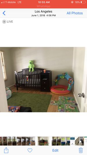 Kids and baby wooden bed (crib) with adjustable height with changing table for Sale in Los Angeles, CA