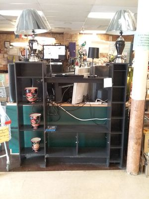 Black TV cabinet stand lots of shelving storage for display or storage 59x10x60 for Sale in Fort Worth, TX
