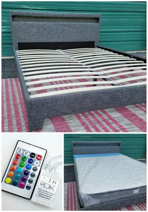 🌈NEW QUEEN UPHOLSTERED BED FRAME WITH MATTRESS. Nightstand sold separately for Sale in Boynton Beach, FL