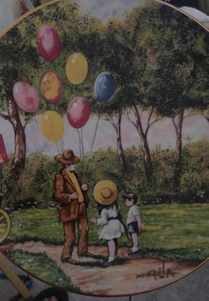 """The balloon man plate 8"""" original painting by Dominic John mingola for Sale in Deltona, FL"""