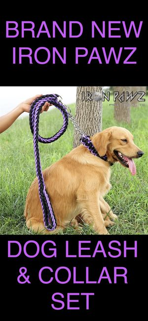Iron Pawz Heavy Duty Professional Training Dog Leash and Collar Set Purple and Black for Sale in Avondale, AZ