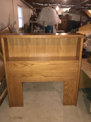 White Clad Twin OAK bed with bookshelf headboard and storage underneath for Sale in York Springs, PA