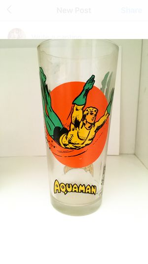 Vintage 1976 Aquaman glass from Pepsi Super Series for Sale in Avon, IN