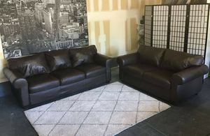 Nice brown leather sofa & loveseat set • Great condition • Free delivery for Sale in Las Vegas, NV