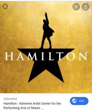 3 Hamilton Tickets - Third Tier Box 8 for Sale in Pompano Beach, FL