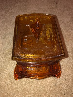 Antique Sod Iron Stove Candy Dish Amber Glass Covered with an Iron Acorn Lid, 4 footed. Antique. Gorgeous. I guess 1920s Trinket Box, Keepsake, for Sale in Plainfield, IL